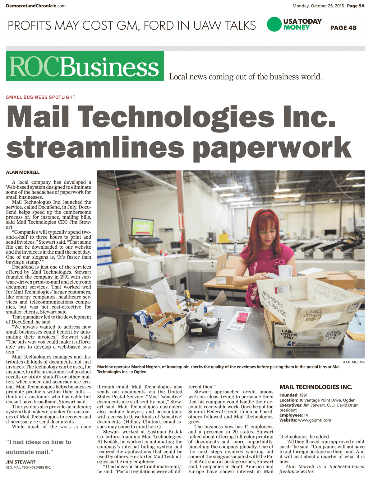 Mail Technologies Streamlines Paperwork-ROC Article